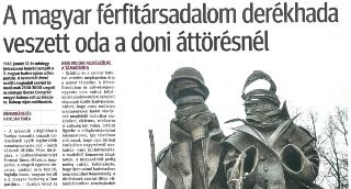 A magyar férfitársadalom derékhada veszett oda a doni áttörésnél