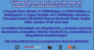 Tájékoztatás a koronavírus fertőzés kapcsán meghozott intézkedésekről (2020. 03. 16.)